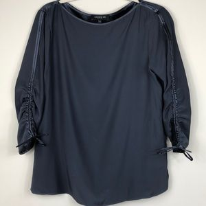 Lafayette 148 Navy Silk Top size Small